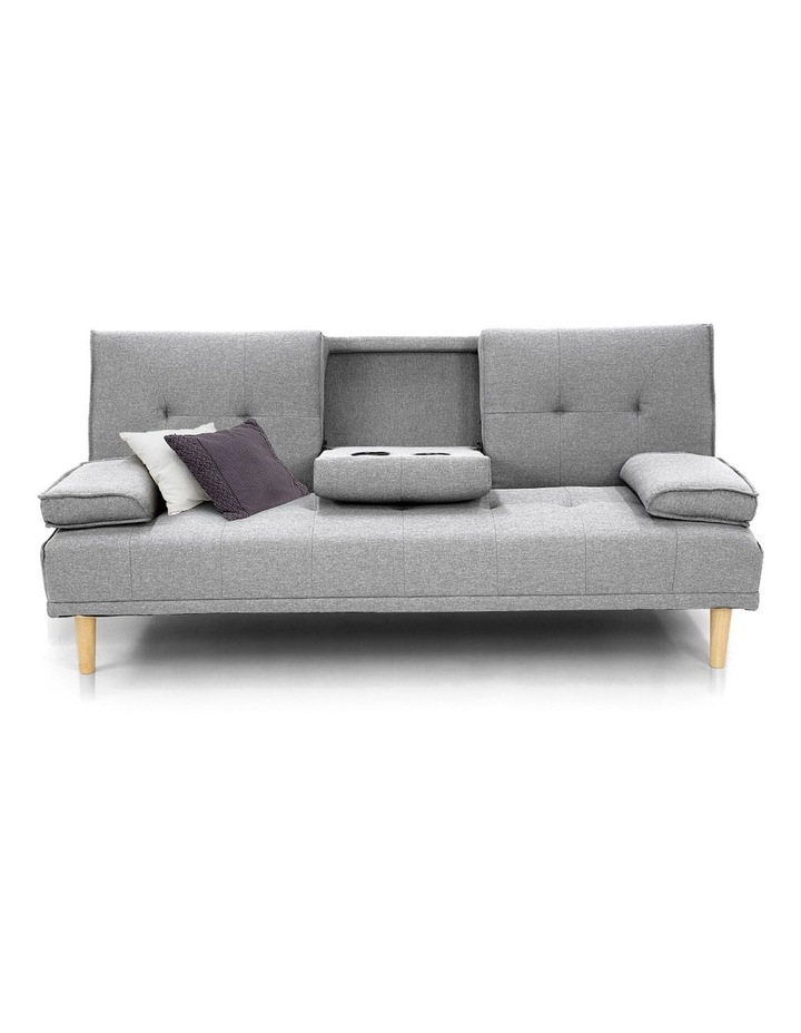 Sarantino Linen Fabric Sofa Bed Lounge Couch Futon Furniture Suite - Light Grey image 2