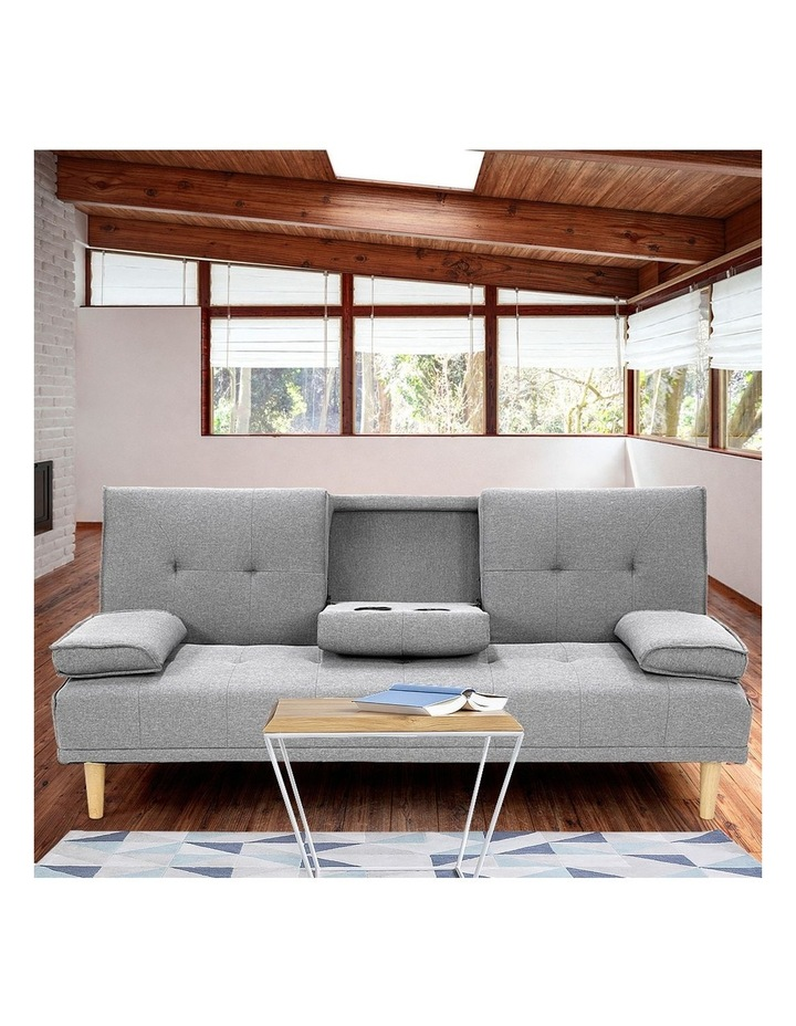 Sarantino Linen Fabric Sofa Bed Lounge Couch Futon Furniture Suite - Light Grey image 3
