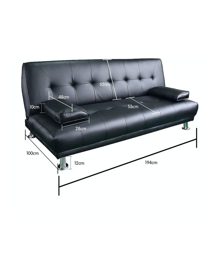 Sarantino 3 Seater Faux Leather Sofa Bed Couch Lounge Futon - Black image 4