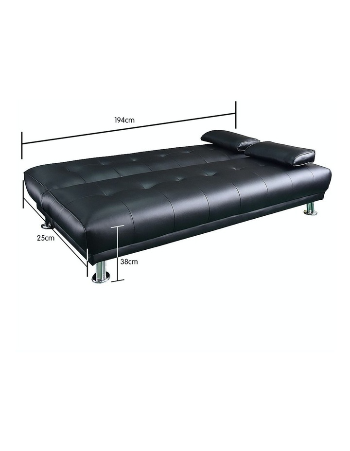 Sarantino 3 Seater Faux Leather Sofa Bed Couch Lounge Futon - Black image 5