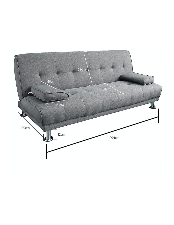 Sarantino 3 Seater Linen Sofa Bed Couch Lounge Futon - Light Grey image 4