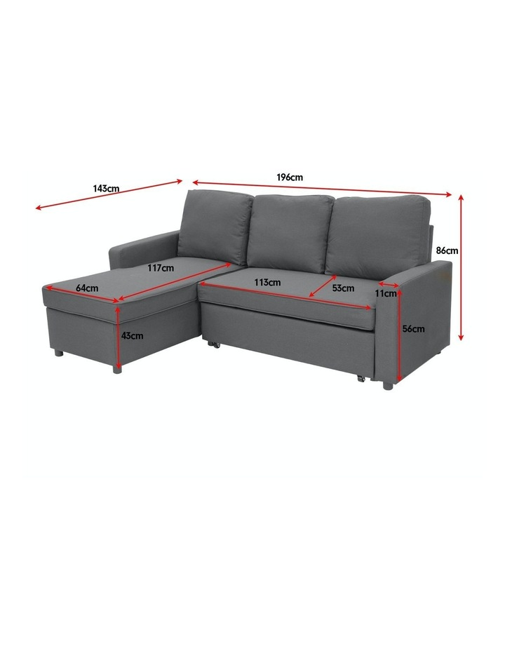 Sarantino 3-Seater Corner Sofa Bed Lounge Storage Chaise Couch Grey image 4
