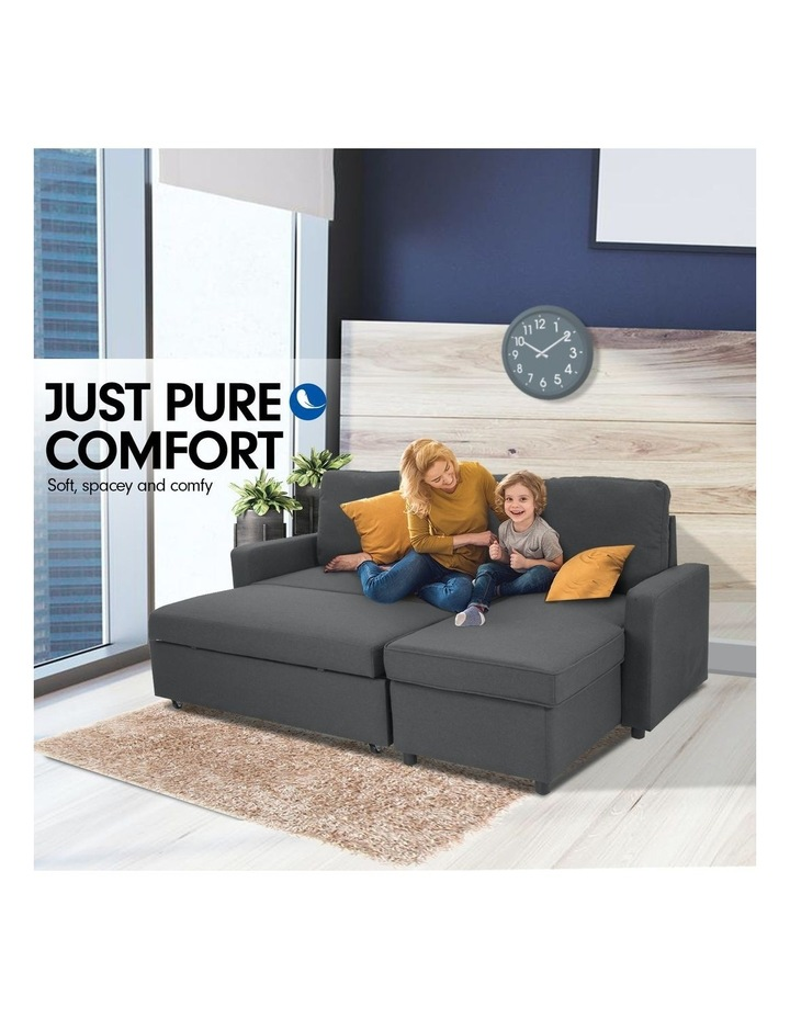 Sarantino 3-Seater Corner Sofa Bed Lounge Storage Chaise Couch Grey image 6