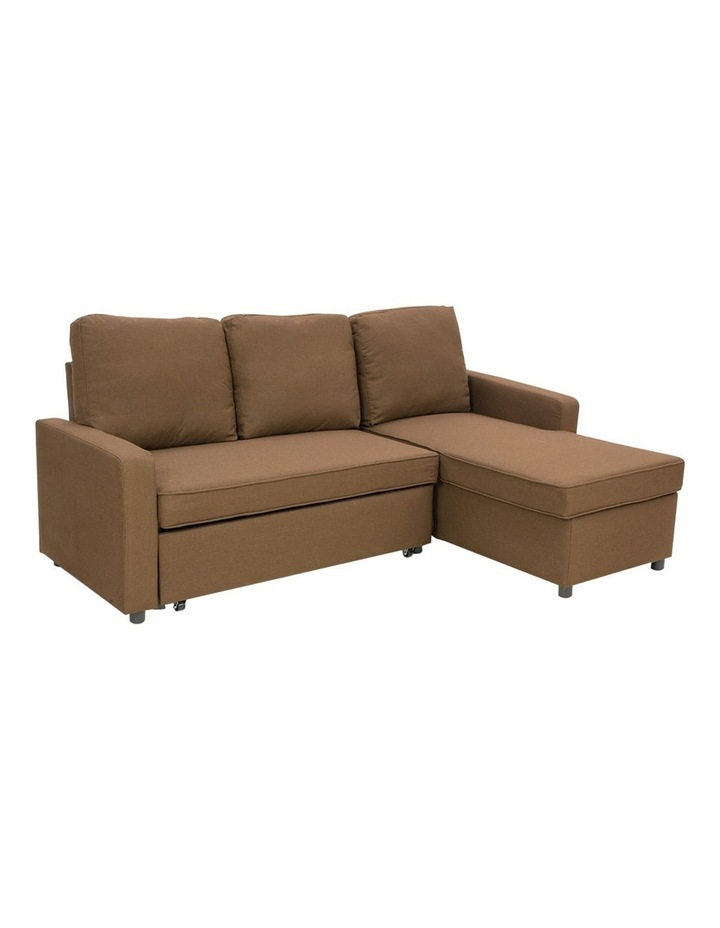 Sarantino 3-Seater Corner Sofa Bed Lounge Storage Chaise Couch Brown image 1