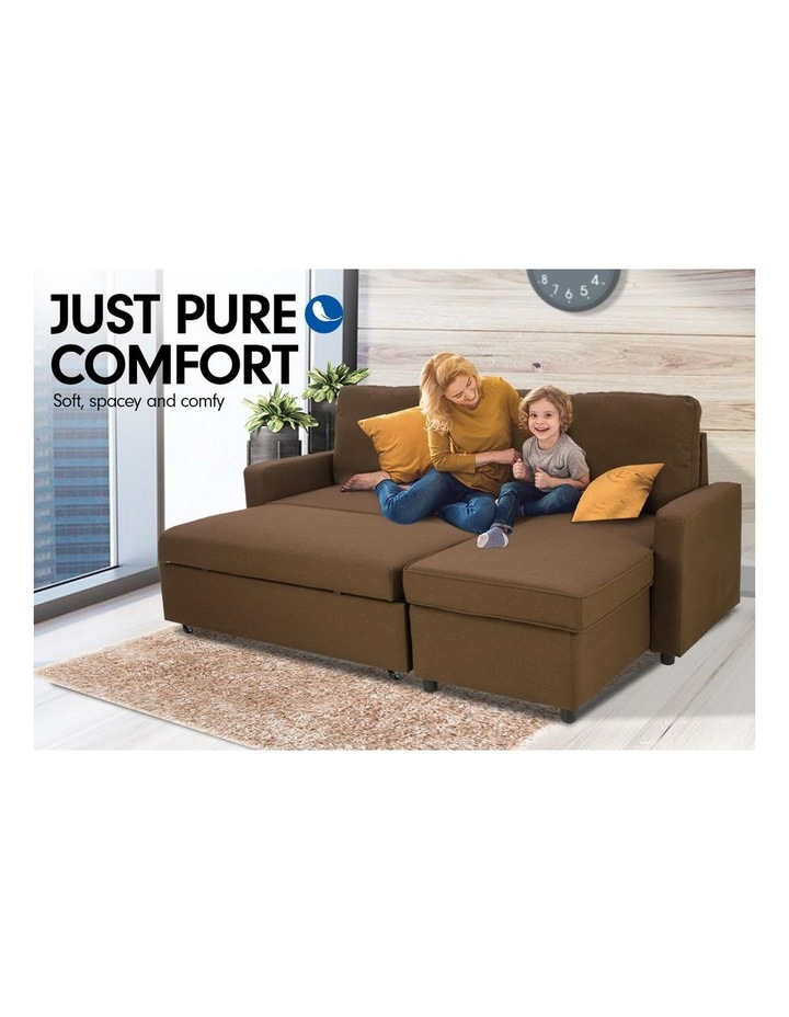 Sarantino 3-Seater Corner Sofa Bed Lounge Storage Chaise Couch Brown image 2