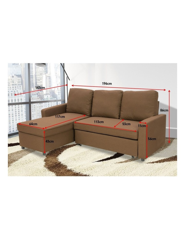 Sarantino 3-Seater Corner Sofa Bed Lounge Storage Chaise Couch Brown image 4