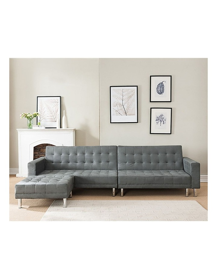Sarantino Faux Velvet Corner Sofa Bed Couch with Chaise - Grey image 2