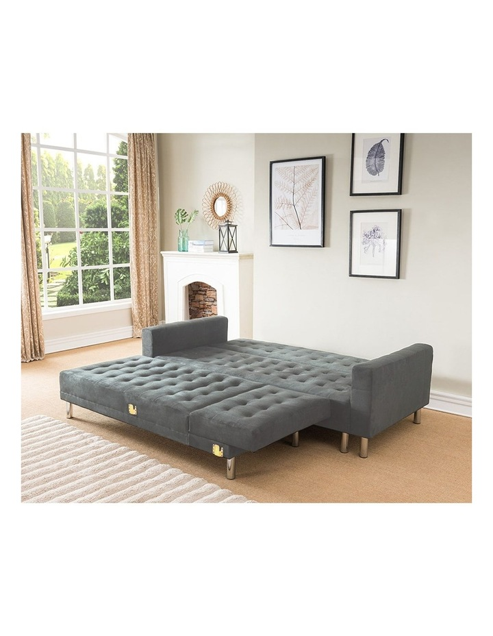 Sarantino Faux Velvet Corner Sofa Bed Couch with Chaise - Grey image 6