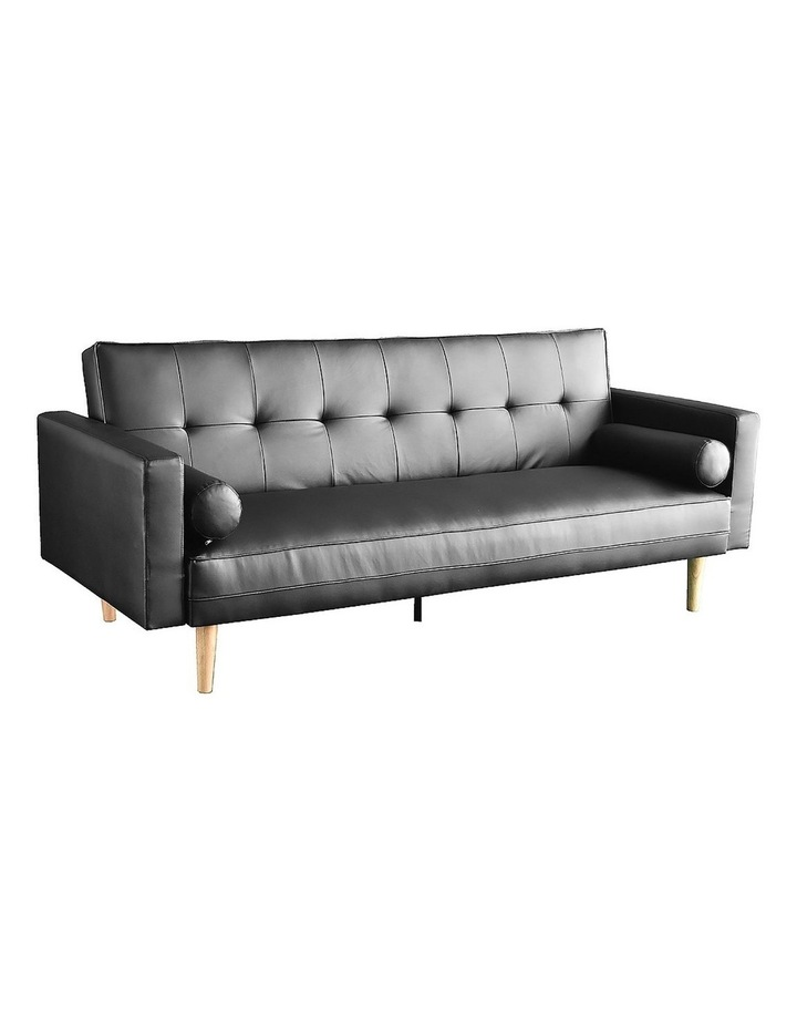 Sarantino 3 Seater Faux Leather Sofa Bed Couch with Pillows - Black image 1