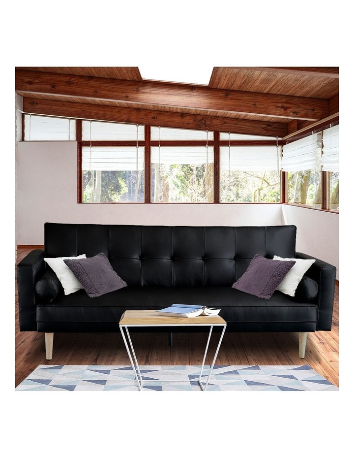 Sarantino 3 Seater Faux Leather Sofa Bed Couch with Pillows - Black image 2
