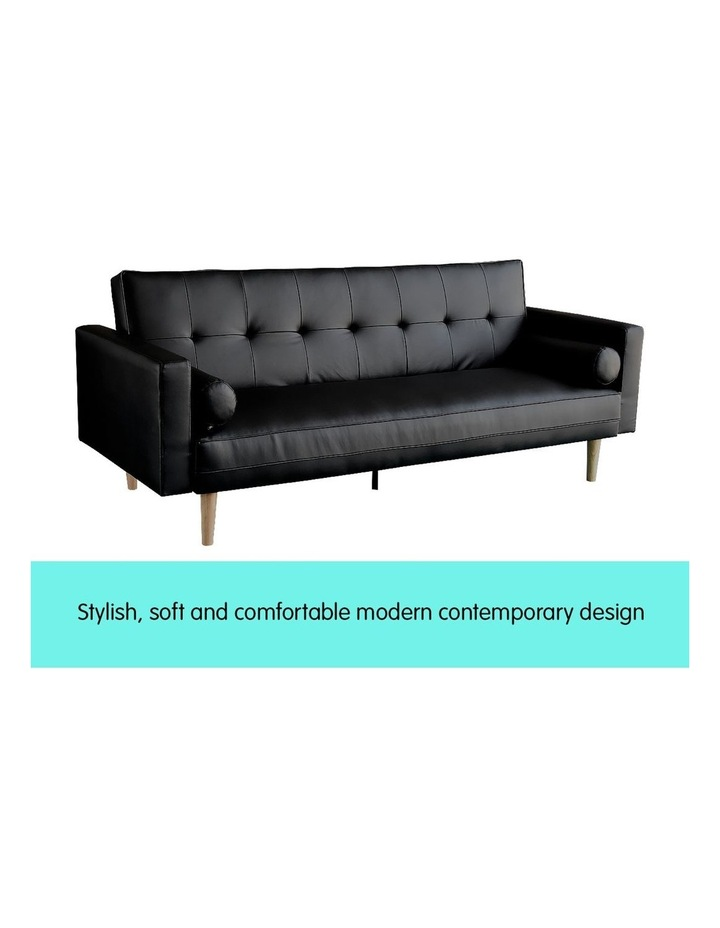 Sarantino 3 Seater Faux Leather Sofa Bed Couch with Pillows - Black image 3