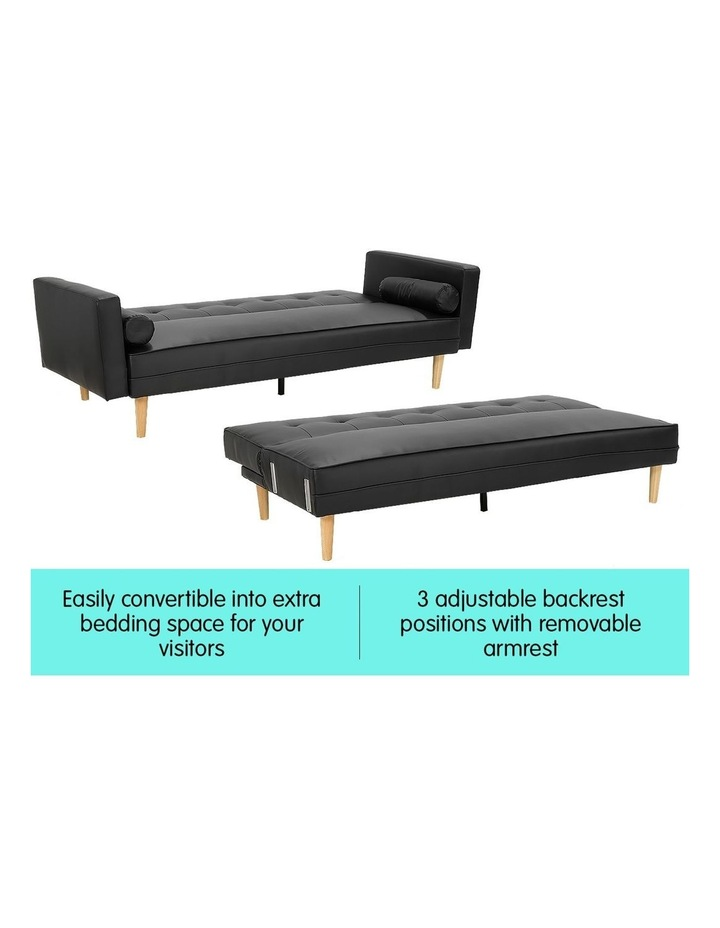 Sarantino 3 Seater Faux Leather Sofa Bed Couch with Pillows - Black image 4