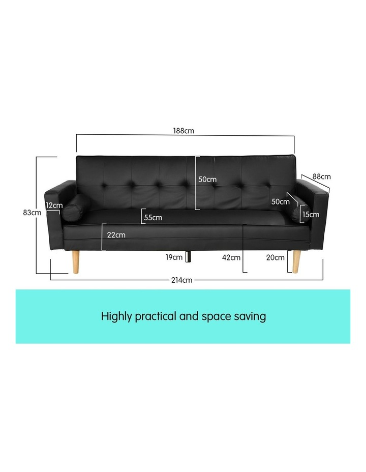 Sarantino 3 Seater Faux Leather Sofa Bed Couch with Pillows - Black image 6
