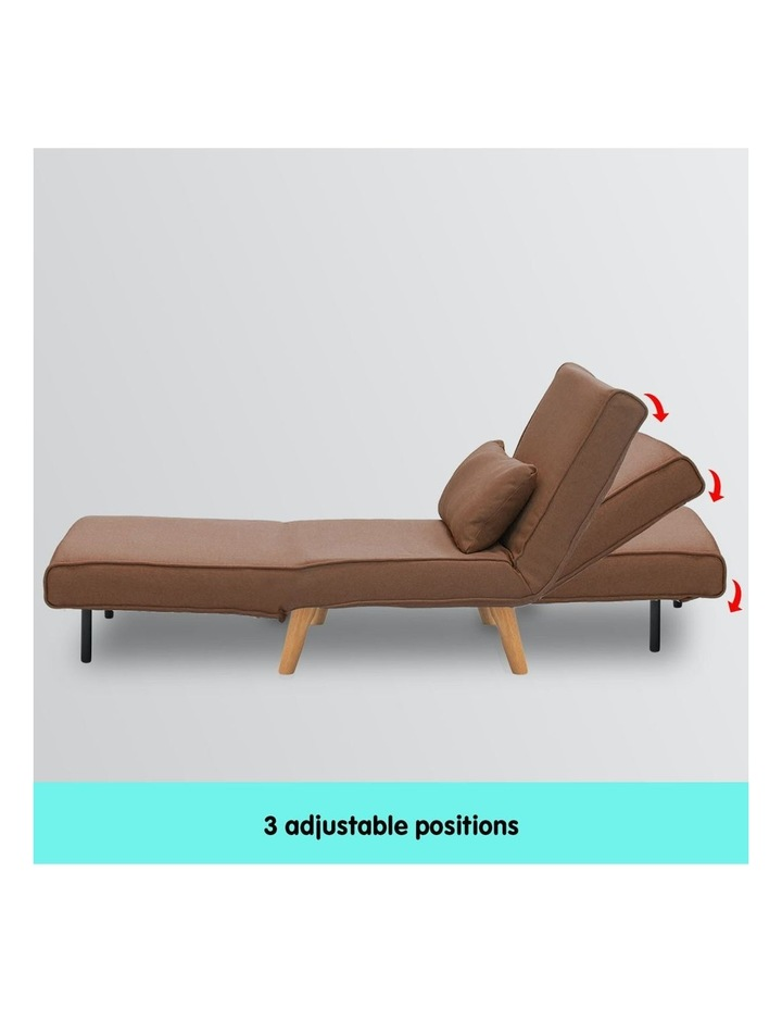 Adjustable Corner Sofa Lounge Linen Bed Seat - Brown image 4