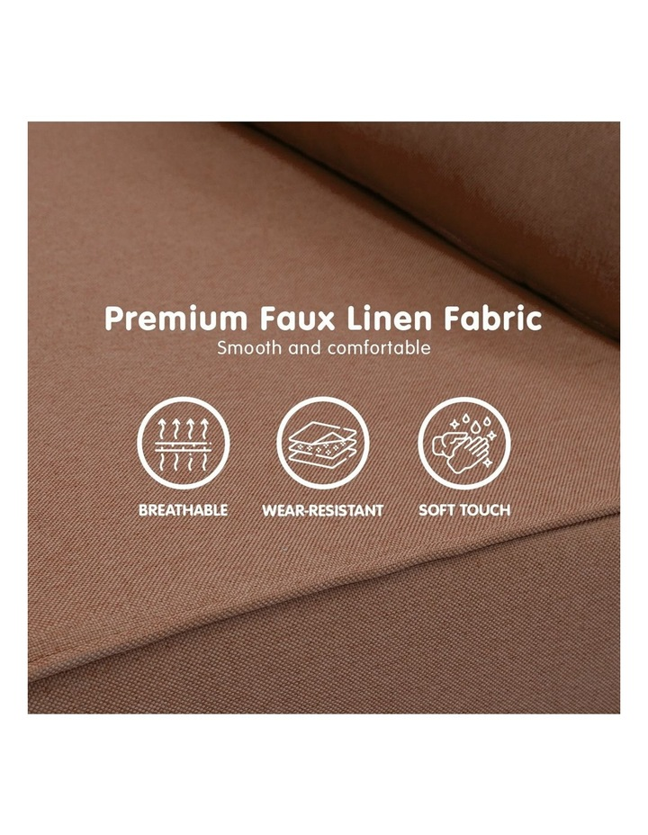 Adjustable Corner Sofa Lounge Linen Bed Seat - Brown image 5