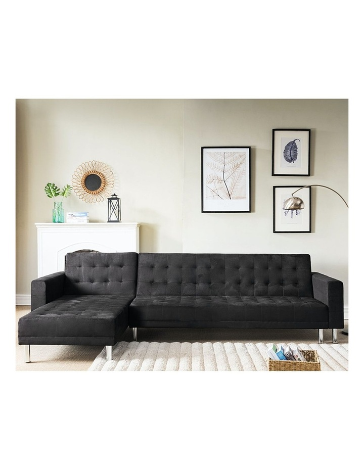 Sarantino Faux Velvet Corner Sofa Bed Couch with Chaise - Black image 2