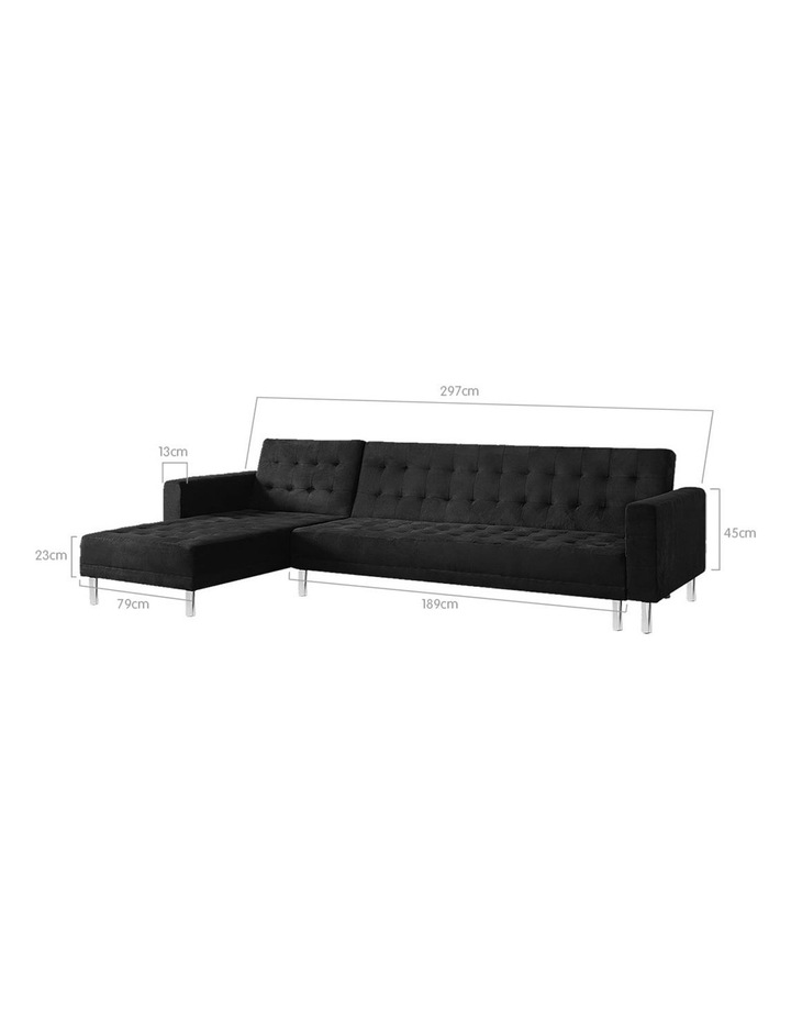 Sarantino Faux Velvet Corner Sofa Bed Couch with Chaise - Black image 5