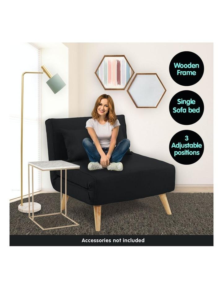 Adjustable Corner Sofa Bed Lounge Faux Velvet - Black image 2