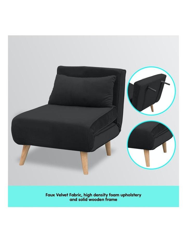 Adjustable Corner Sofa Bed Lounge Faux Velvet - Black image 3