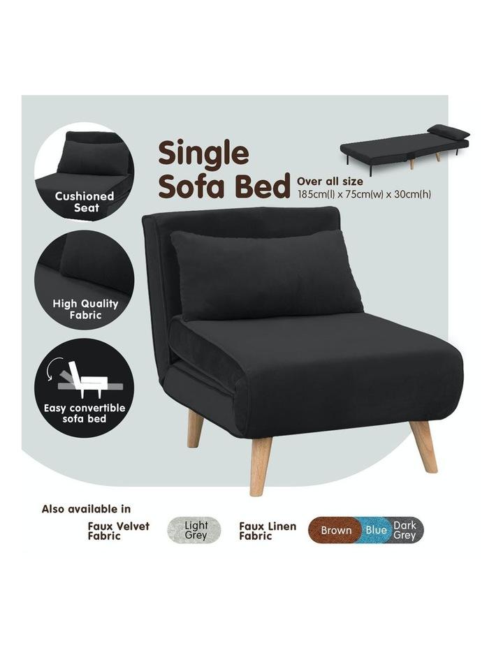 Adjustable Corner Sofa Bed Lounge Faux Velvet - Black image 4