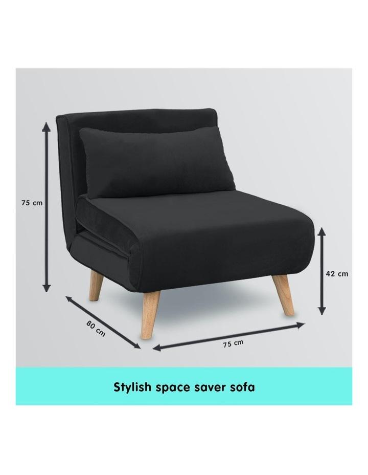 Adjustable Corner Sofa Bed Lounge Faux Velvet - Black image 7