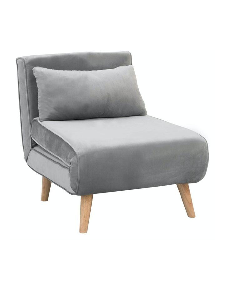Adjustable Corner Sofa Bed Lounge Faux Velvet Light Grey image 1