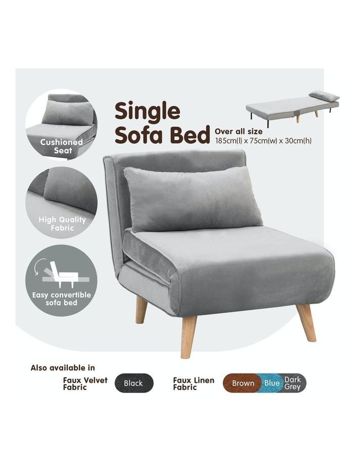 Adjustable Corner Sofa Bed Lounge Faux Velvet Light Grey image 2