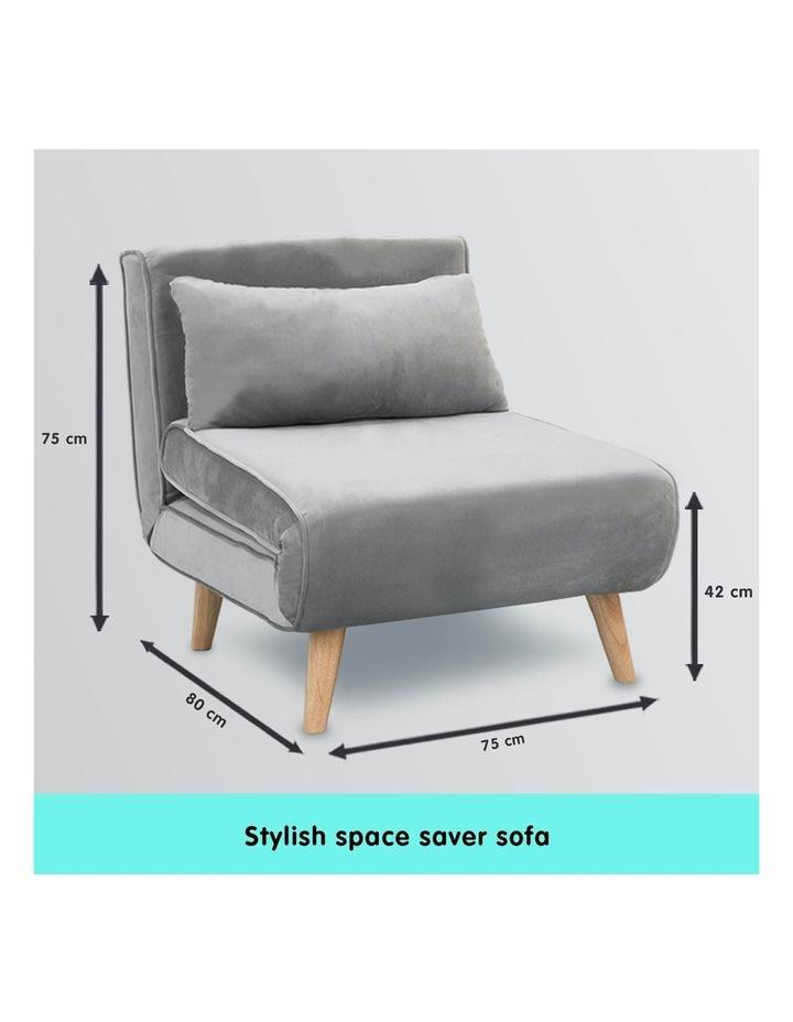 Adjustable Corner Sofa Bed Lounge Faux Velvet Light Grey image 3