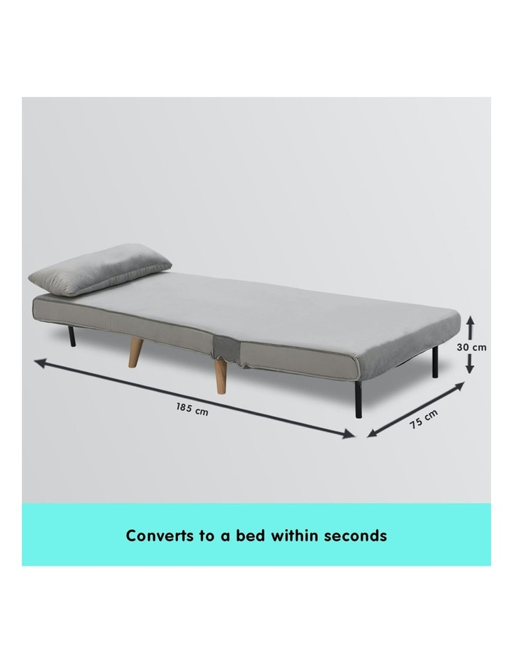 Adjustable Corner Sofa Bed Lounge Faux Velvet Light Grey image 4