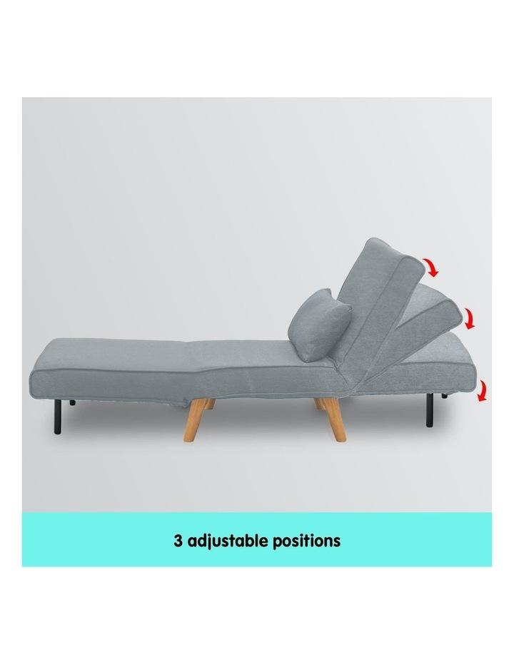 Adjustable Corner Sofa Bed Lounge Faux Velvet Light Grey image 5