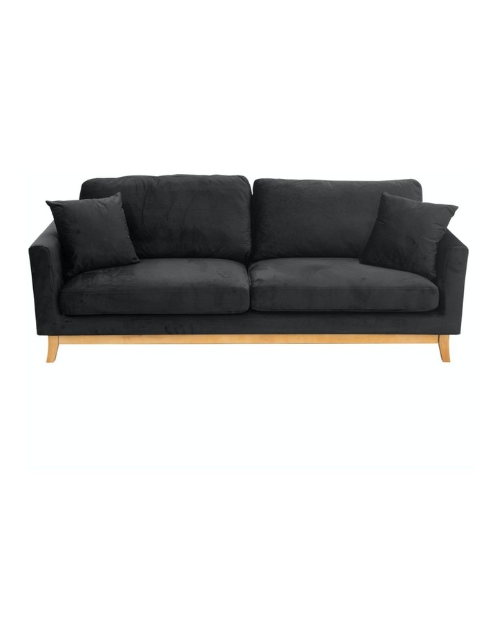 3 Seater Faux Velvet Sofa Bed Couch Furniture - Black image 1