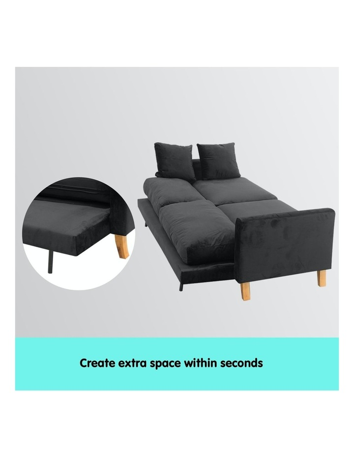 3 Seater Faux Velvet Sofa Bed Couch Furniture - Black image 2