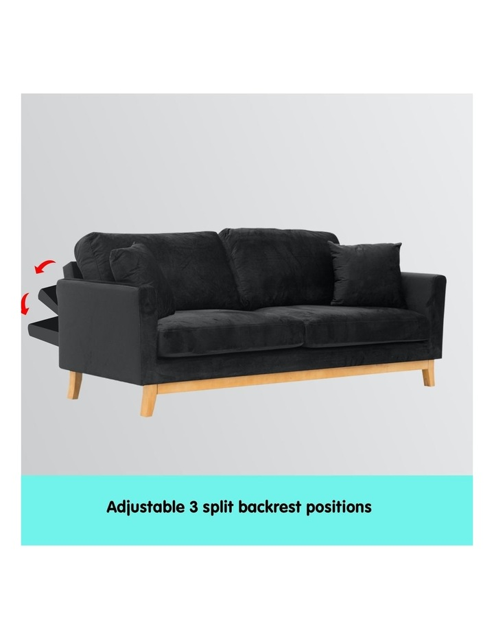 3 Seater Faux Velvet Sofa Bed Couch Furniture - Black image 4