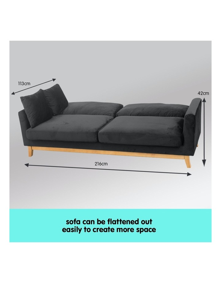 3 Seater Faux Velvet Sofa Bed Couch Furniture - Black image 6