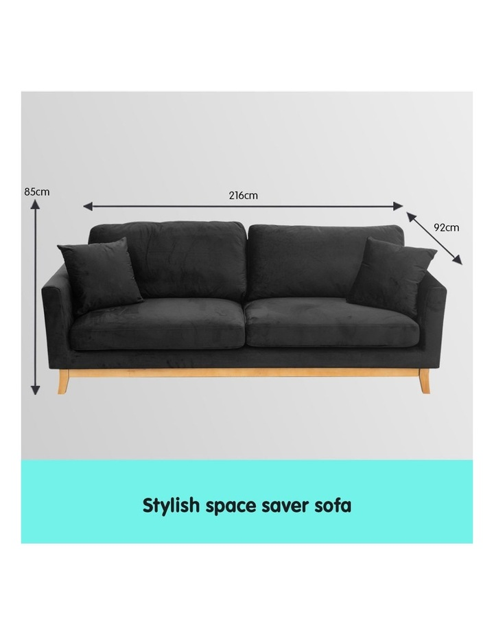 3 Seater Faux Velvet Sofa Bed Couch Furniture - Black image 7