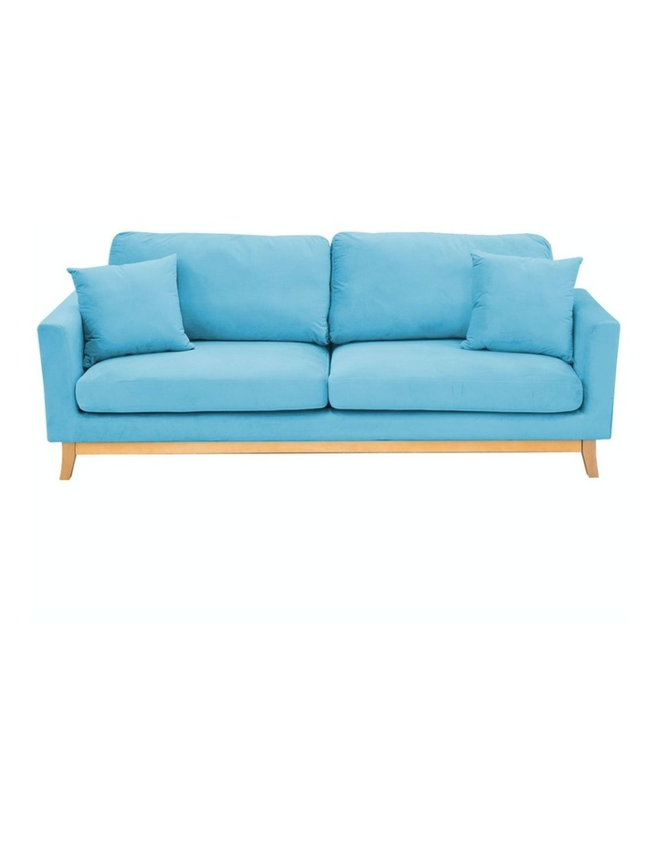 3 Seater Faux Velvet Sofa Bed Couch Furniture - Blue image 1