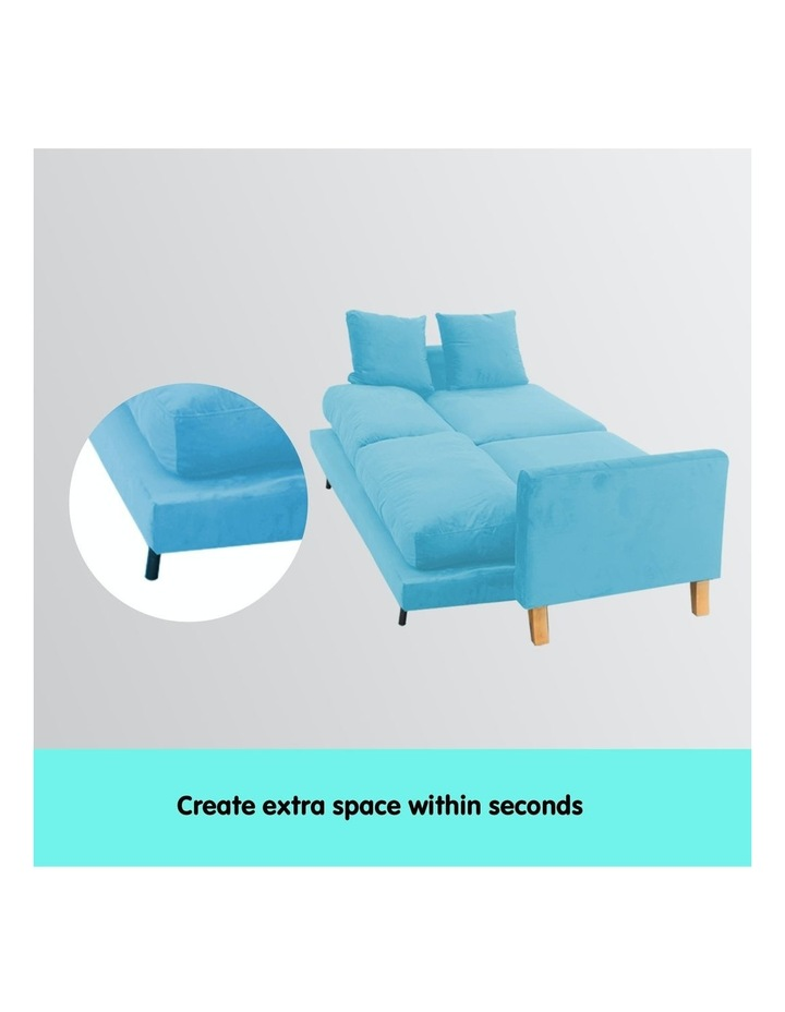 3 Seater Faux Velvet Sofa Bed Couch Furniture - Blue image 2