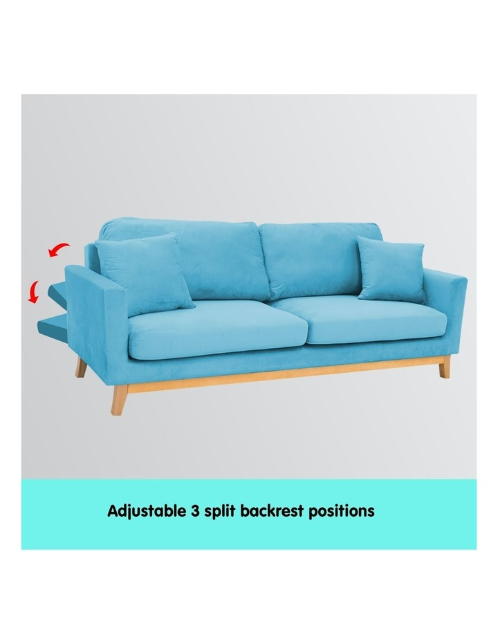 3 Seater Faux Velvet Sofa Bed Couch Furniture - Blue image 4