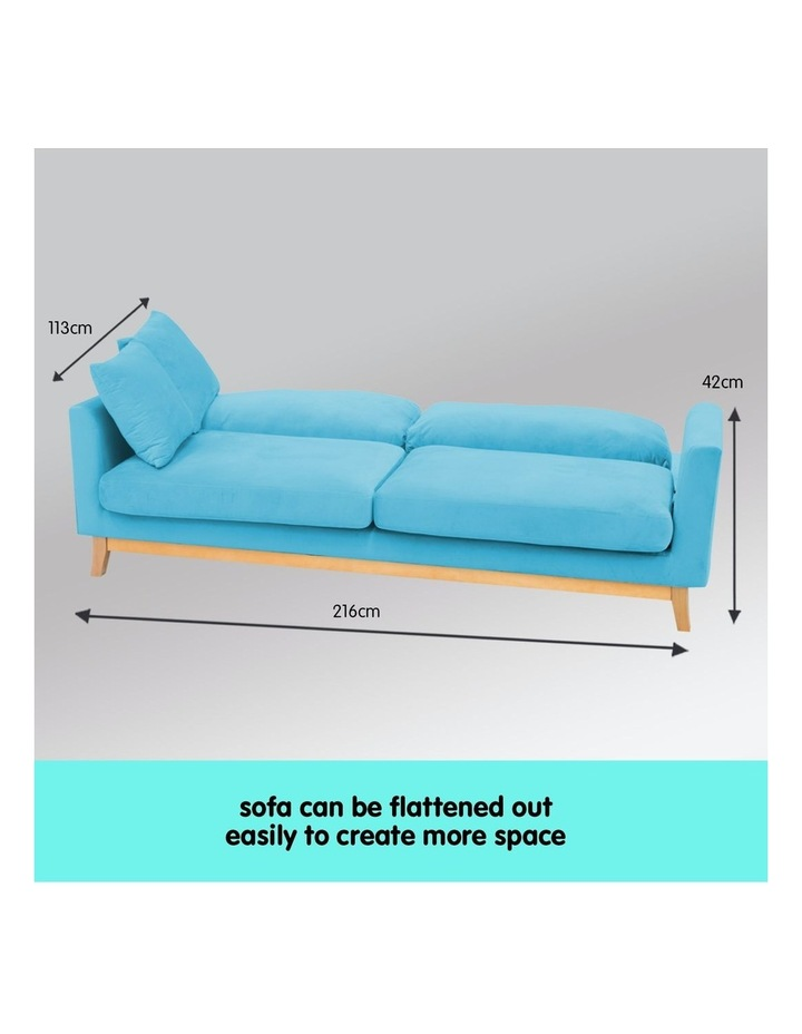 3 Seater Faux Velvet Sofa Bed Couch Furniture - Blue image 6