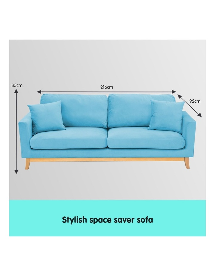 3 Seater Faux Velvet Sofa Bed Couch Furniture - Blue image 7
