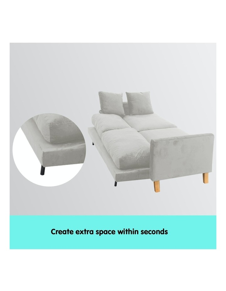3 Seater Faux Velvet Sofa Bed Couch Furniture - Light Grey image 3