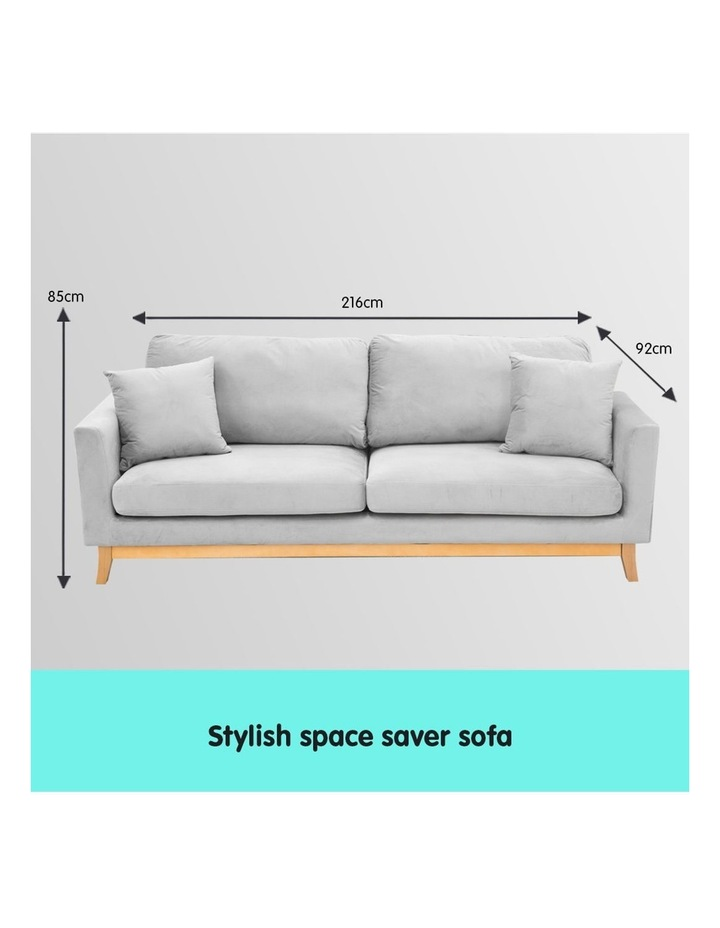 3 Seater Faux Velvet Sofa Bed Couch Furniture - Light Grey image 7