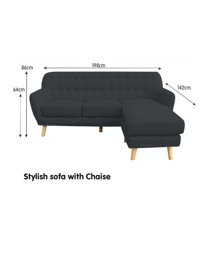 Linen Corner Sofa Couch Lounge L-shaped with Chaise - Dark Grey image 2