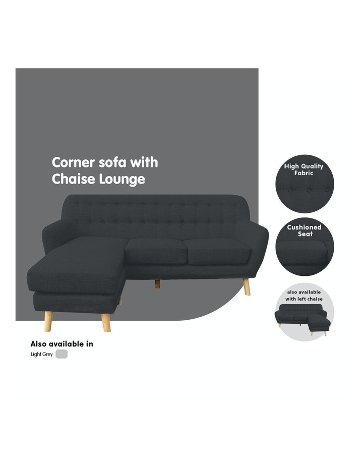 Linen Corner Sofa Couch Lounge L-shaped with Chaise - Dark Grey image 5