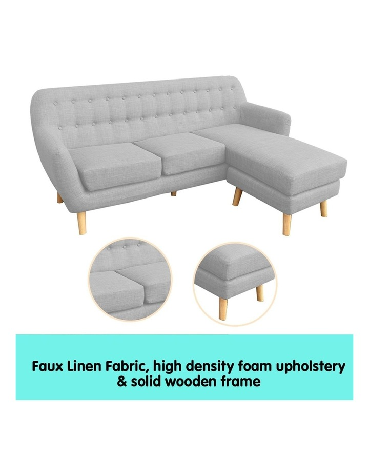 Linen Corner Sofa Couch Lounge L-shaped with Left Chaise - Light Grey image 3