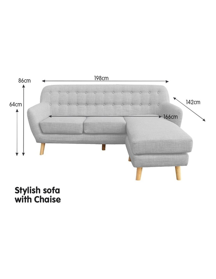 Linen Corner Sofa Couch Lounge L-shaped with Left Chaise - Light Grey image 4