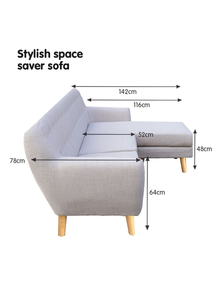 Linen Corner Sofa Couch Lounge L-shaped with Left Chaise - Light Grey image 5