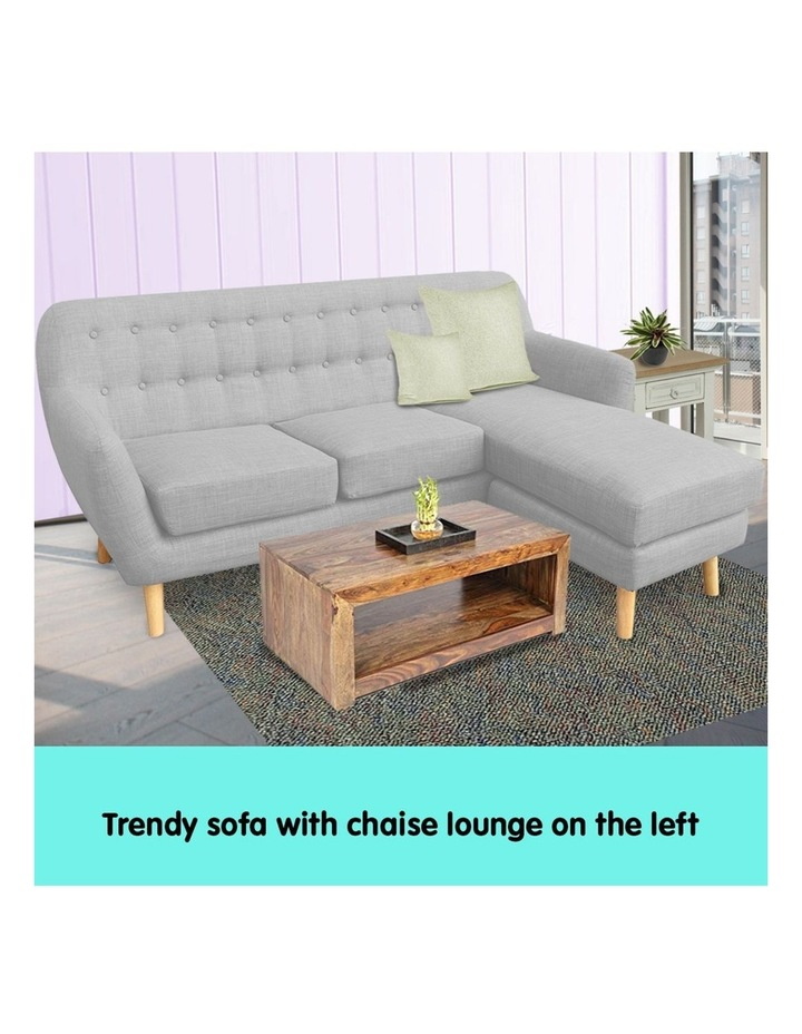 Linen Corner Sofa Couch Lounge L-shaped with Left Chaise - Light Grey image 6