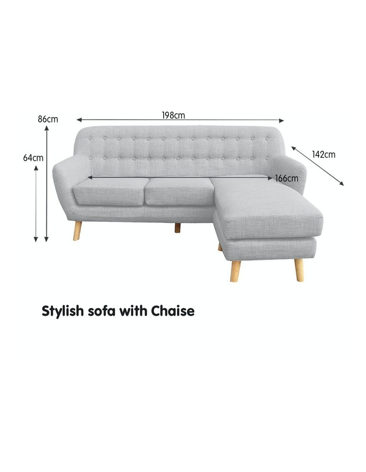 Linen Corner Sofa Couch Lounge L-shaped w/ Chaise Light Grey image 2