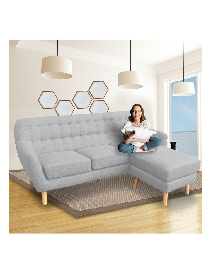 Linen Corner Sofa Couch Lounge L-shaped w/ Chaise Light Grey image 4